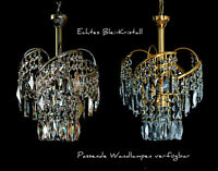 CHANDELIER CEILING LIGHT WITH REAL LEAD CRYSTALS NEW AVAILABLE IN GOLD o. SILVER