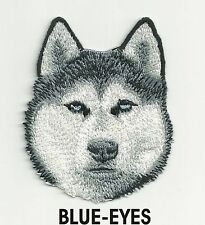 "2 1/4"" x 2 3/4"" Blue eye Siberian Husky Dog Breed Embroidery Applique Patch"