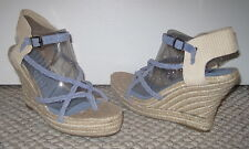 7 FOR ALL MANKIND PERIWINKLE BLUE BRAIDED STRAP 9 WEDGE ESPADRILLE SANDALS