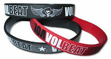 Volbeat Winged Skull Logo 3 Piece Black / Red / Black Silicone Wristband Set