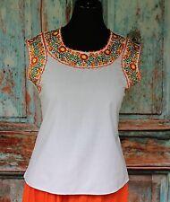 White & Orange San Antonio Wedding Blouse Sleeveless, Oaxaca Mexico Boho Hippie