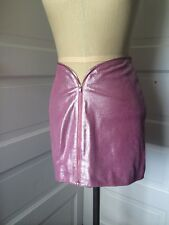Pink Metallic Leather Zip Up Mini Skirt Wilsons Maxima Size 2