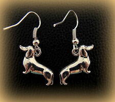 Dachshund EARRINGS Sausage Pup PUPPY DOXIE Dog Jewelry - 3-D Weiner Puppy