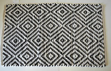 Diamond Pattern Cotton Rug Rag Black White Hand Made Woven Geometric 60x90cm 2x3