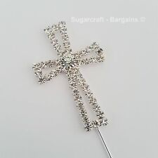 Diamante Cake Pick Topper Cross Confirmation First Holy Communion Silver Sparkle