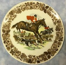 Fox Hunt Hunting  Plate Floral Rim