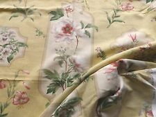 Colefax & Fowler Linen Union Interiors Fabric 'Peony Cartouche' Sandy Yellow