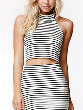 Minkpink Find Me Guilty Black White Stripe Crop Polo Stretch Halter Top XS 8