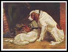 IRISH RED AND WHITE SETTER DOGS BY FIRE GREAT VINTAGE STYLE DOG PRINT POSTER