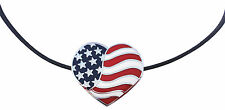 Necklace with Heart Shaped American Flag Golf Ball Marker & Magnetic Heart Clip
