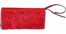 AUTHENTIC GUCCI RED GENUINE MINK FUR  PATENT LEATHER WRISTLET BAG