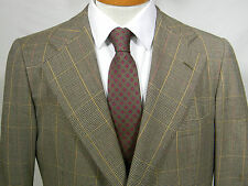 vtg Chipp gold brown glen plaid 100% wool 2 btn blazer sport coat USA 40R trad