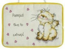 Solo Catnapping Cat Door Hanger Cross Stitch Kit - Anchor