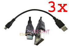 3x USB 2.0 A Male to Micro B 5-Pin Data Sync Charger Cable 10cm Long