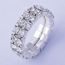 Womens mens Silver Plated Crystal Ring Adjustable Size 6 wholesale jewelry lots
