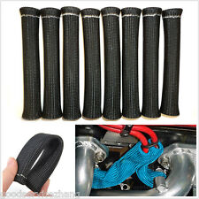 8pcs BLACK HIGH HEAT SPARK PLUG WIRE BOOTS HEAT SHIELD PROTECTOR SLEEVE COVER