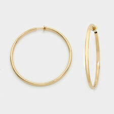 """1.25"""" gold spring hoops clip on earrings non pierced 205pg tiny"""