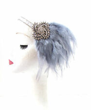 Grey & Silver Feather Headpiece 1920s Headband Flapper Great Gatsby Vintage 610