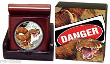 2016 NEW $1 Deadly & Dangerous Death Adder 1oz Silver Proof Coin Limited Mintage
