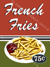 French Fries Advertisement Diner Fast Food Restaurant Retro Metal Sign