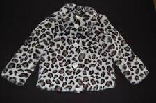 NWT CRAZY 8 Faux Fur Winter Coat Jacket Gray Black Leopard Print sz XS 4 4T NEW