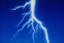 520035 Lightning Bolt Over Blue Background A4 Photo Texture Print