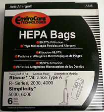 6 pk RICCAR HEPA Type A Vacuum Bags for Simplicity, Vibrance VIBCL2000 Part A845