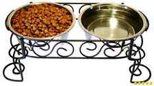 16oz Elevated Raised Dog Pet Double Bowl Stand Stainless Steel Food Water Feeder
