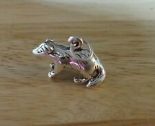 Sterling Silver 3D 13x20mm 3gram Detailed Wisconsin Badger Charm