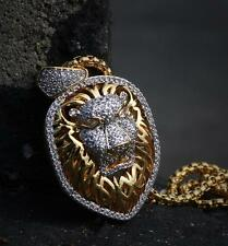 Exquisite Ultra Premium Gold Plated Lion Head Pendant Charm Necklace