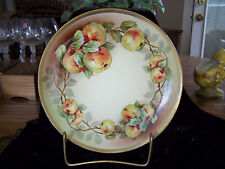 Hand Painted  Bavaria O E G Royal Austria Plate Golden Apple Motif Artist Signed