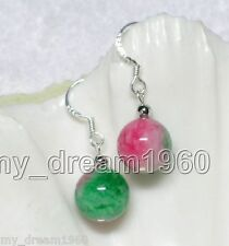 Natural 10mm Green Multicolor Round Jade 925 Silver Hook Earrings
