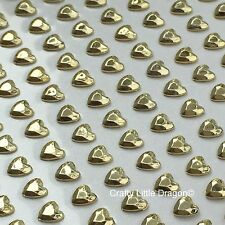208 x 6mm Metallic Pale Gold Heart Self Adhesive Stick on Gems Wedding Favours