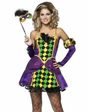 Mardi Gras Queen Princess Costume Harlequin Fancy Dress Women Stick Mask 4-8 New