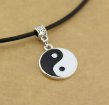 Stunning Yin and Yang Pendant Charm Necklace with Genuine Leather Cord Silver Yi