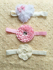 Set of 3 Baby Girls Flower & Rhinestone Headband 6-18 mos white cream pink