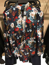 ZARA FLORAL PRINT BODY BODYSUIT CHOKER TOP BLOUSE REF 0594/204 SIZE S UK 8