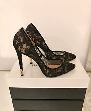 Kurt Geiger London Canonbury Black Lace High Heel Court Shoes Size 4 37 RRP £220