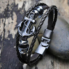 Men's Awesome Hot Punk Anchor Studded Surfer Faux Leather Bangle Cuff Bracelet