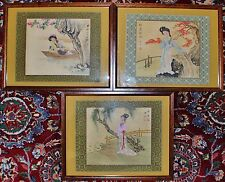 Three Old Estate Chinese Watercolor Paintings Ancient Chinese Beauties Republic
