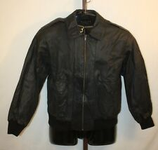 Mark Shale Mens Black Leather Zip Front Winter Flight Bomber Jacket Size Medium