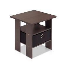 Furinno 11157DBR/BK End Table Bedroom Night Stand w/Bin Drawer Dark Brown/Black