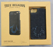 TRUE RELIGION  AUTHENTIC  BLUE DENIM SWAROVSKI  LEATHER  APPLE iPHONE 5 CASE NWT