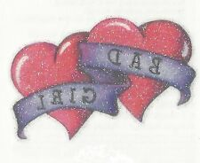 Glitter Bad Girl Double heart Temporary Tattoo Med size