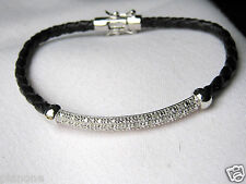 1/4 Ct Diamond Sterling Silver Bracelet Black Leather Band Double Safety Clasp