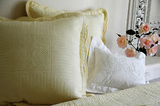 2 X Extra-large square light lemon yellow stitch embroidered cushion cover with