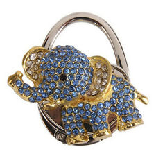 Foldable Purse Bag Rhinestone Cute Blue Elephant Hanger Hangbag Hook Holder bid