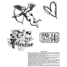 LOVE STRUCK - Tim Holtz Stampers Anonymous Cling Stamp Set - Valentine / Love