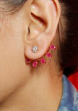 729 Indian Bollywood Jewelry Gold Plated Ear Cuff Indian Stone Earrings Jhumka