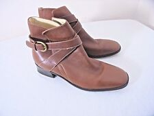 Talbots Womens 8AA Narrow Ankle Boots Chestnut Brown Leather Wrap Around Buckle